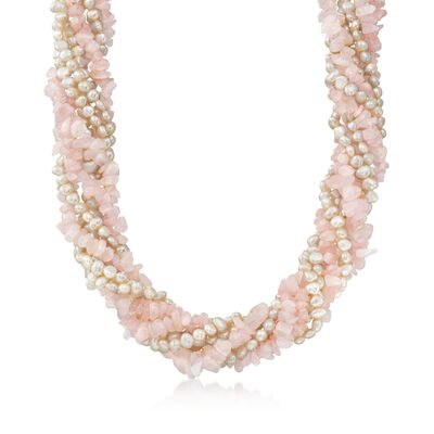 Cultured Pearl and Rose Quartz Chip Torsade Necklace with Sterling Silver, , default