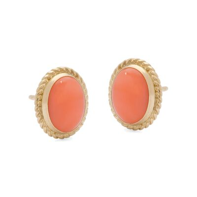 Oval Coral Cabochon Stud Earrings in  Textured 14kt Yellow Gold  , , default