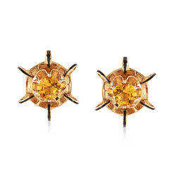 C. 1950 Vintage 1.45 ct. t.w. Citrine Earrings in 14kt Yellow Gold, , default