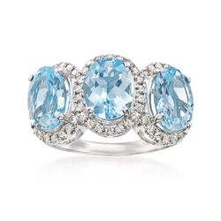 4.60 ct. t.w. Aquamarine and .41 ct. t.w. Diamond Ring in 14kt White Gold, , default
