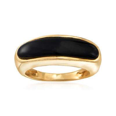 C. 1980 Vintage Black Onyx Ring in 14kt Yellow Gold