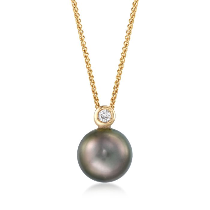 """9-10mm Black Cultured Tahitian Pearl Pendant Necklace with Diamond Accent in 18kt Yellow Gold. 16"""", , default"""