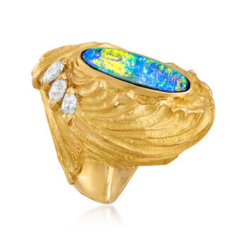 C. 1980 Vintage Black Opal and .44 ct. t.w. Diamond Ring in Platinum and 18kt Yellow Gold. Size 5.5