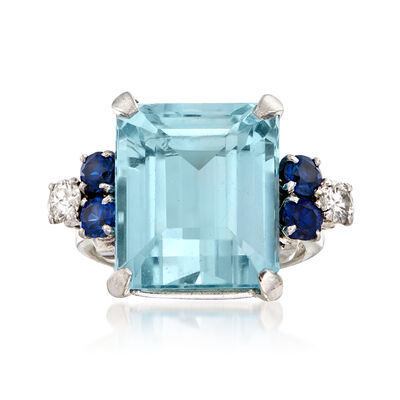 C. 1960 Vintage 14.00 Carat Aquamarine, .80 ct. t.w. Simulated Sapphire and .40 ct. t.w. Diamond Ring in 14kt White Gold, , default