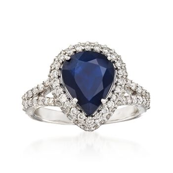 2.90 Carat Sapphire and .86 ct. t.w. Diamond Ring in 18kt White Gold, , default