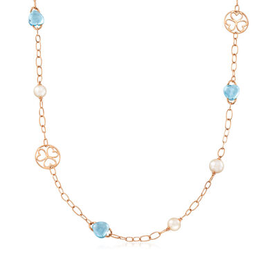 C. 1990 Vintage Mimi Milano 30.00 ct. t.w. Blue Topaz and 9x10mm Cultured Pearl Station Necklace in 18kt Rose Gold