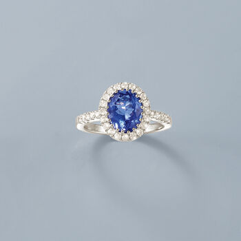 2.80 Carat Tanzanite and .65 ct. t.w. Diamond Ring in 14kt White Gold