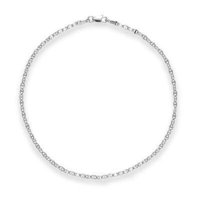 14kt White Gold Anchor Chain Anklet, , default