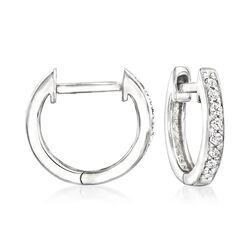 .10 ct. t.w. Diamond Huggie Hoop Earrings in 14kt White Gold, , default
