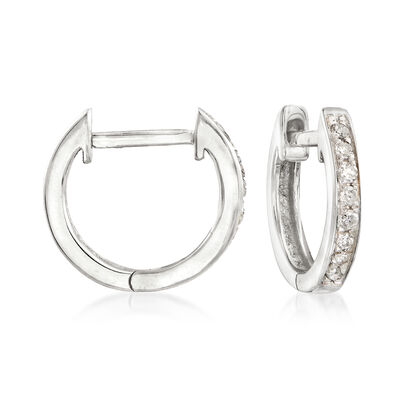 .10 ct. t.w. Diamond Huggie Hoop Earrings in 14kt White Gold, , default