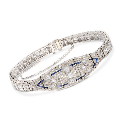 C. 1950 Vintage 4.00 ct. t.w. Diamond and .40 ct. t.w. Synthetic Sapphire Bracelet in Platinum, , default