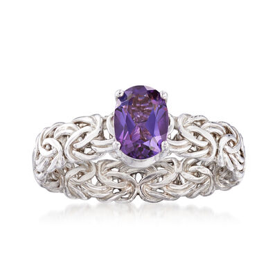 .70 Carat Amethyst Byzantine Ring in Sterling Silver, , default
