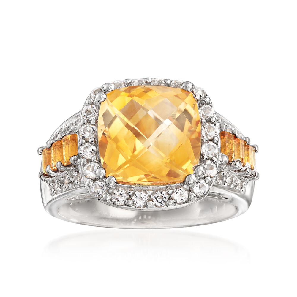 3.25 Ct. T.w. Citrine Ring With White Topaz And Diamond