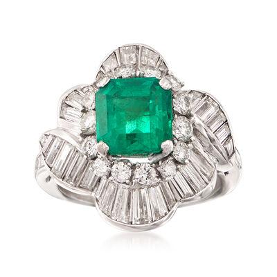 C. 1990 Vintage 2.20 Carat  Emerald and 2.50 ct. t.w. Diamond Ballerina Ring in Platinum , , default