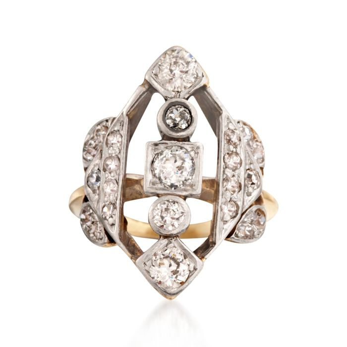 C. 1920 Vintage 1.10 ct. t.w. Diamond Ring in 14kt Two-Tone Gold. Size 4.5