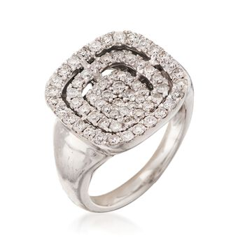 C. 1990 Vintage 1.15 ct. t.w. Pave Diamond Square Ring in 14kt White Gold. Size 6, , default