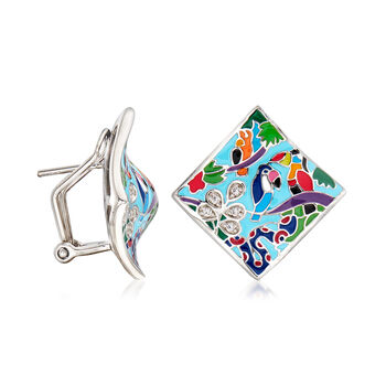 "Belle Etoile ""Tropical Rainforest"" Blue and Multicolored Enamel Earrings with .10 ct. t.w. CZs in Sterling Silver, , default"