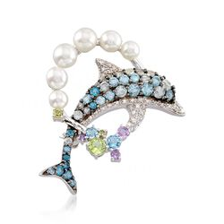 3.5-5.5mm Cultured Pearl and 1.80 ct. t.w. Multi-Stone Dolphin Pin Pendant in Sterling Silver, , default