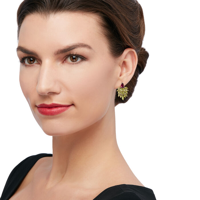 5.00 ct. t.w. Peridot and 1.70 ct. t.w. Rhodolite Cluster Drop Earrings in Sterling Silver