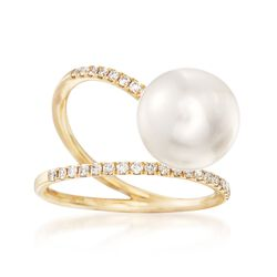 10.5-11mm Cultured Pearl and .24 ct. t.w. Diamond Swirl Ring in 14kt Yellow Gold, , default