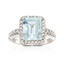 3.00 Carat Aquamarine and .30 ct. t.w. Diamond Ring in 14kt White Gold, , default