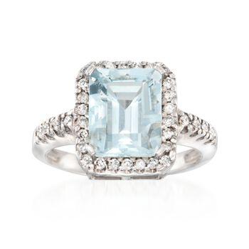 3.00 Carat Aquamarine and .30 ct. t.w. Diamond Ring in 14kt White Gold, , default