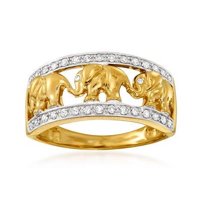 .20 ct. t.w. Diamond Elephant Motif Ring in 14kt Yellow Gold, , default