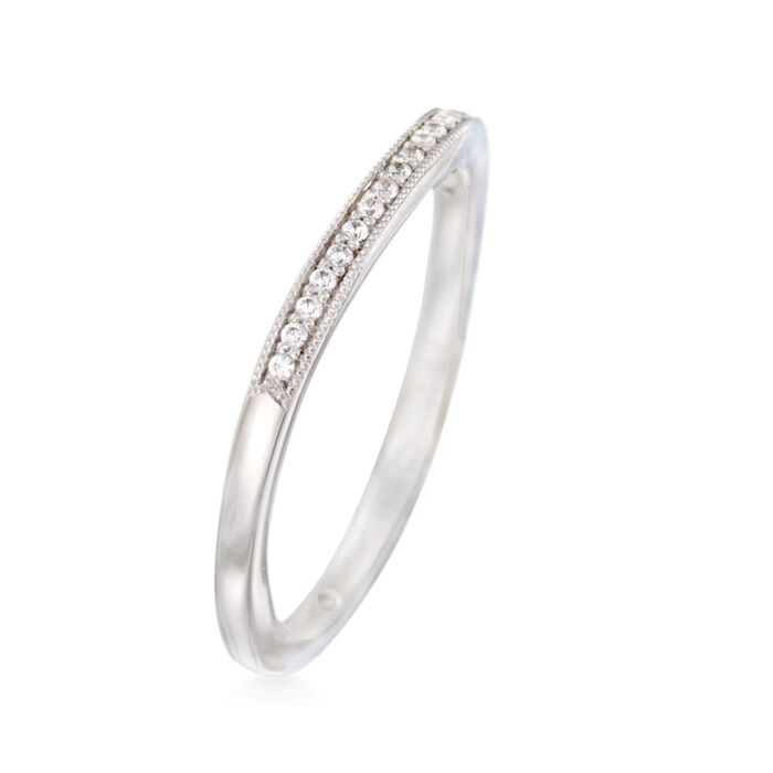Gabriel Designs 14kt White Gold Curved Wedding Ring with Diamond Accents