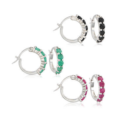 2.60 ct. t.w. Multi-Stone and Sterling Silver Jewelry Set: Three Pairs of Huggie Hoop Earrings