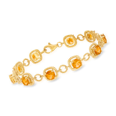 7.50 ct. t.w. Citrine Line Bracelet in 14kt Gold Over Sterling