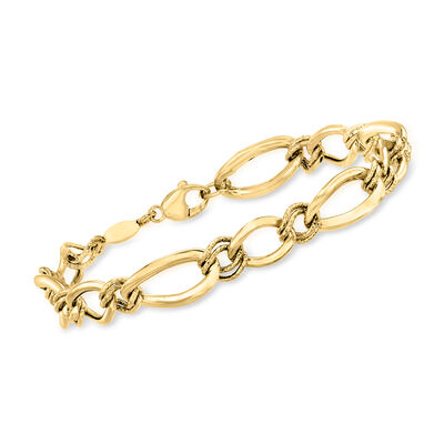Italian 14kt Yellow Gold Textured and Polished Oval-Link Bracelet