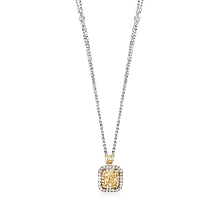 .91 ct. t.w. Yellow Diamond Necklace with Diamond Accents in 18kt Two-Tone Gold