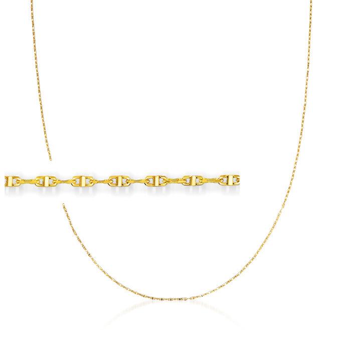 Italian 1mm 18kt Yellow Gold Lumachina Chain Necklace