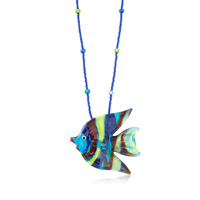 Italian Multicolored Murano Glass Fish Necklace with Sterling Silver, , default