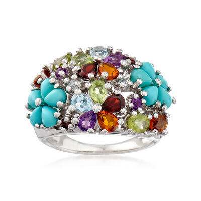 Turquoise and 2.80 ct. t.w. Multi-Stone Floral Ring in Sterling Silver, , default