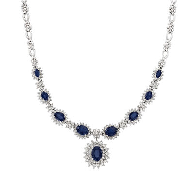 C. 1980 Vintage 10.00 ct. t.w. Sapphire and 2.25 ct. t.w. Diamond Necklace in 18kt White Gold