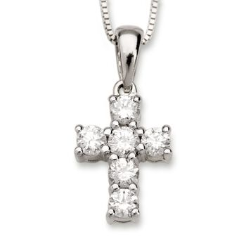 """.50 ct. t.w. Diamond Cross Necklace in 14kt White Gold. 18"""", , default"""