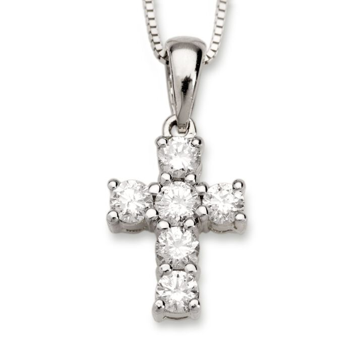 ".50 ct. t.w. Diamond Cross Necklace in 14kt White Gold. 18"", , default"