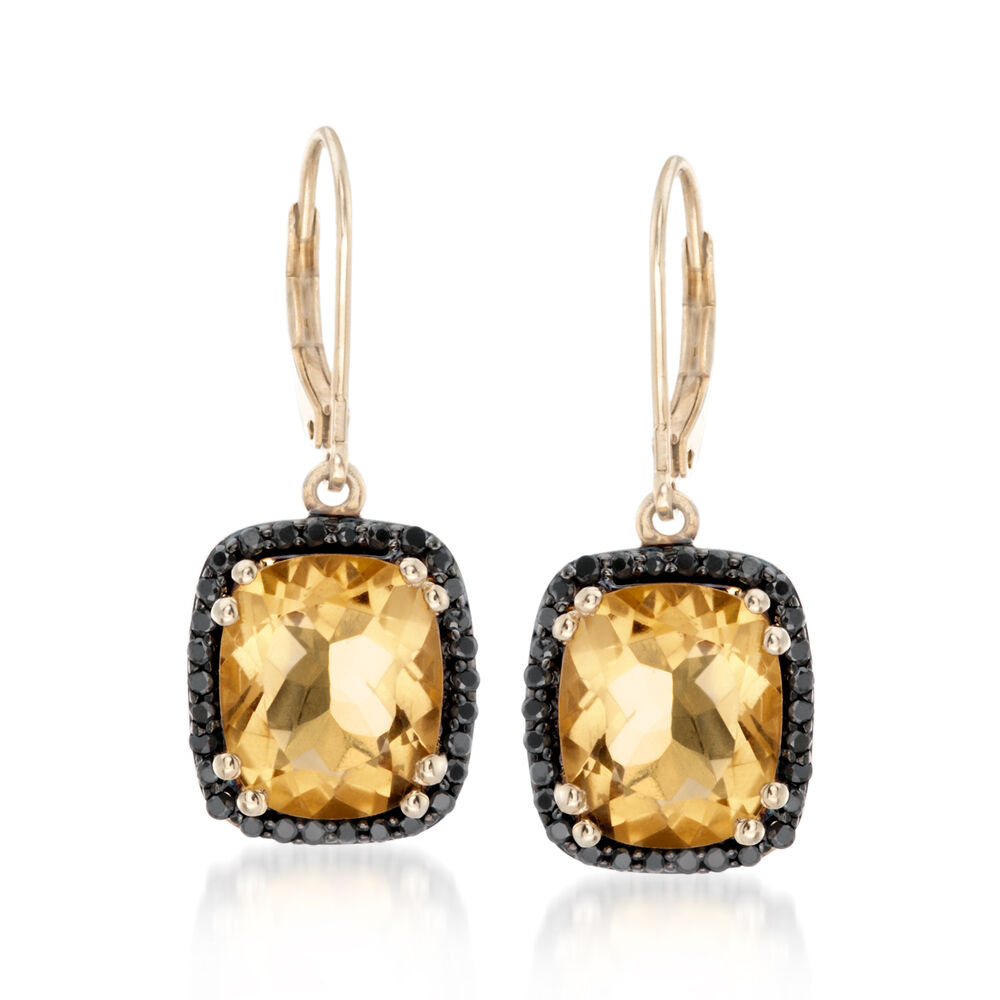 T W Citrine And Black Spinel Earrings In 14kt Gold Over Sterling