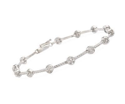.20 ct. t.w. Bezel-Set Diamond Station Bracelet in Sterling Silver, , default