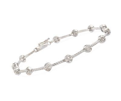 .20 ct. t.w. Bezel-Set Diamond Station Bracelet in Sterling Silver, , default
