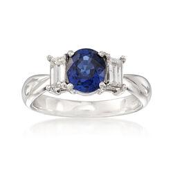 C. 2000 Vintage 2.09 Carat Sapphire and .58 ct. t.w. Diamond Ring in Platinum, , default
