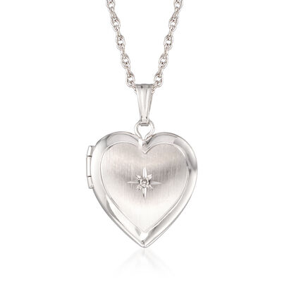 Diamond Locket in 14kt White Gold, , default
