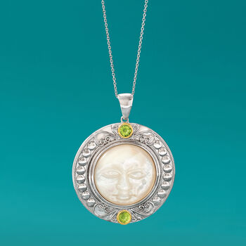 Mother-Of-Pearl and 1.10 ct. t.w. Peridot Moon Pendant Necklace in Sterling Silver and 14kt Yellow Gold, , default