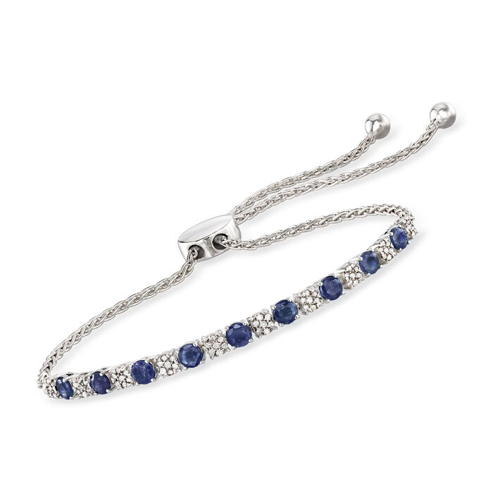 1.30 ct. t.w. Sapphire and .20 ct. t.w. Diamond Bolo Bracelet in Sterling Silver