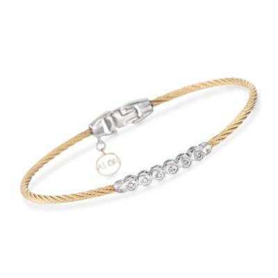 """ALOR """"Classique"""" .14 ct. t.w. Diamond Yellow Cable Bracelet With 18kt Two-Tone Gold, , default"""