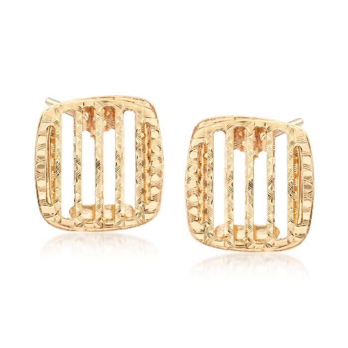 Italian 14kt Yellow Gold Open-Stripe Square Earrings, , default