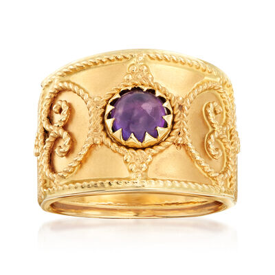 Italian 1.20 Carat Amethyst Filigree Ring in 14kt Yellow Gold, , default