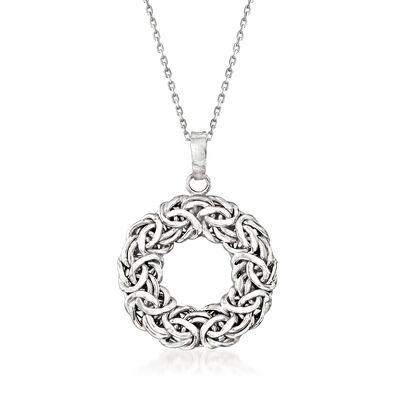 Sterling Silver Byzantine Open Circle Pendant Necklace
