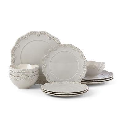 "Lenox ""Chelse Muse"" Floral Gray Ironstone Dinnerware Set , , default"